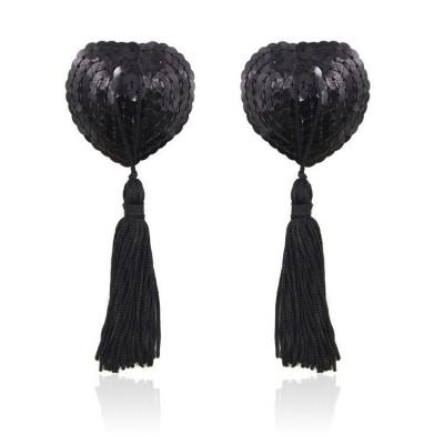 Cubre Pezones Sequin Heart - Negro
